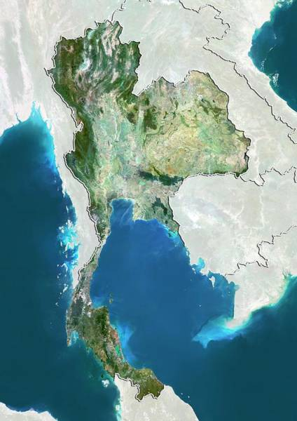 Landsat 7 Wall Art - Photograph - Thailand by Planetobserver/science Photo Library