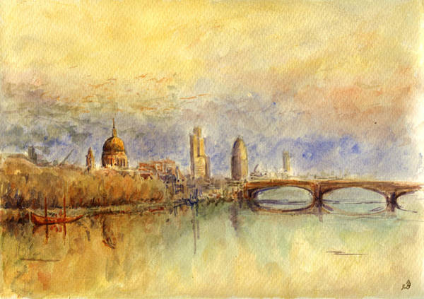 England Painting - Thames London by Juan  Bosco