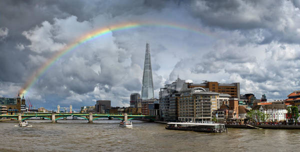 Photograph - Thames Rainbow With Shard And Globe Theatre by Gary Eason
