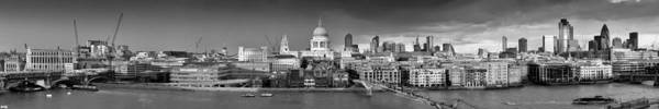 Photograph - Thames With St Paul's Panorama Black And White Version by Gary Eason
