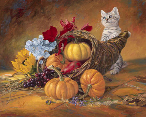 Domestic Cat Wall Art - Painting - Thankful by Lucie Bilodeau