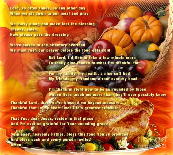 Thanksgiving Dinner Digital Art - Thanksgiving Day Prayer - Thanksgiving Art By Giada Rossi by Giada Rossi