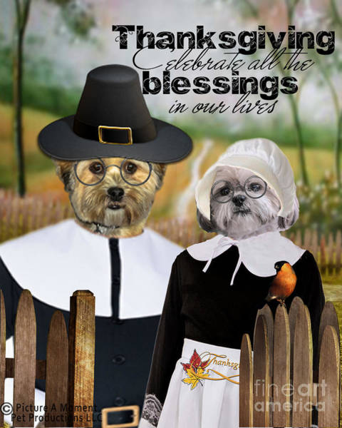 Digital Art - Thanksgiving From The Dogs by Kathy Tarochione