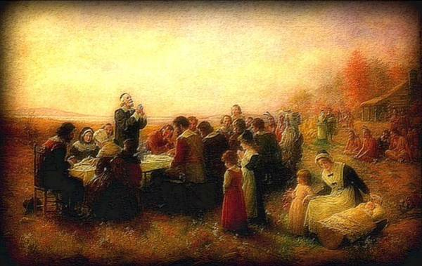 Wall Art - Painting - Thanksgiving Grace Outdoors 300 Years Ago by L Brown