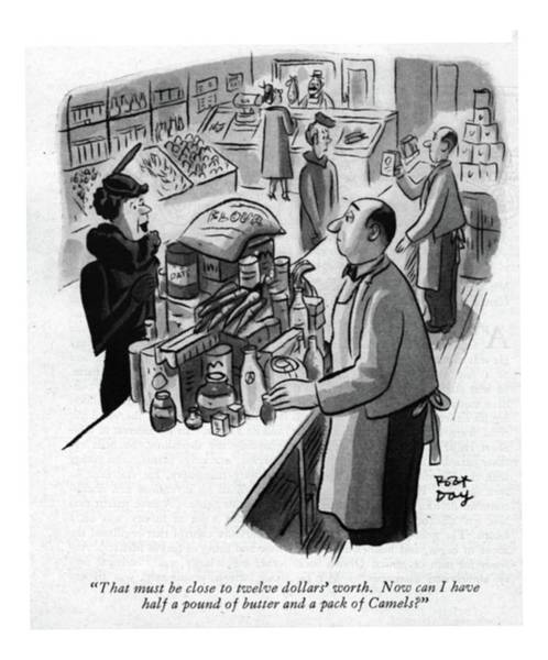 Retail Drawing - That Must Be Close To Twelve Dollars' Worth. Now by Robert J. Day