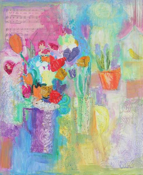 Joyful Photograph - That Springtime Feeling 2014, Acrylicpaper Collage by Sylvia Paul