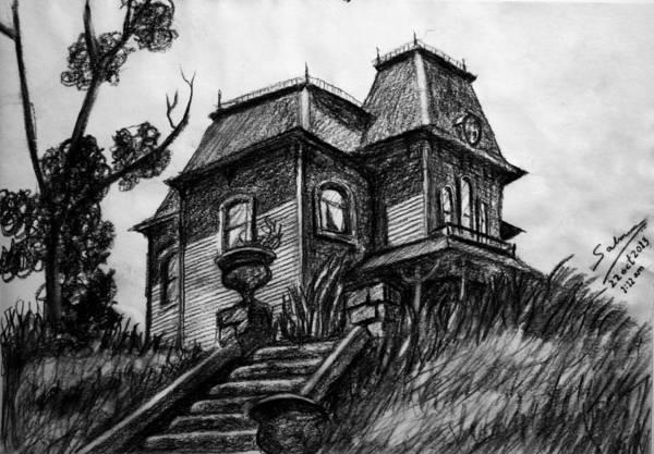 Haunted House Drawing - Phycho 1960 House by Salman Ravish