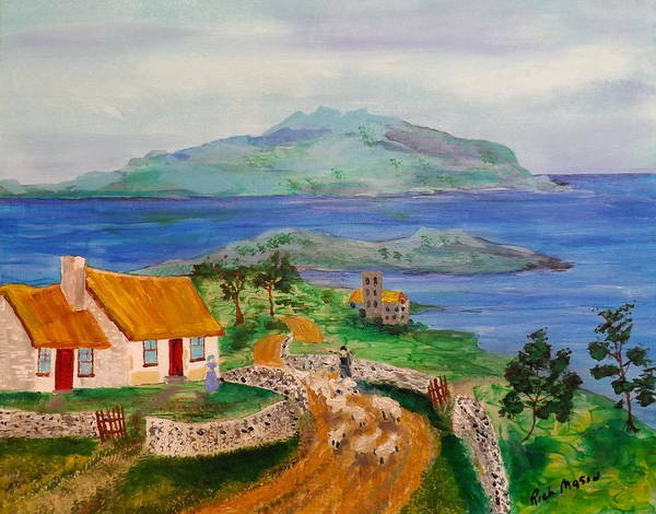 Wall Art - Painting - Thatch Roof Cottage And Sheep by Rich Mason
