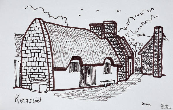 Ink Sketch Photograph - Thatched Houses, Kerascoet, Brittany by Richard Lawrence