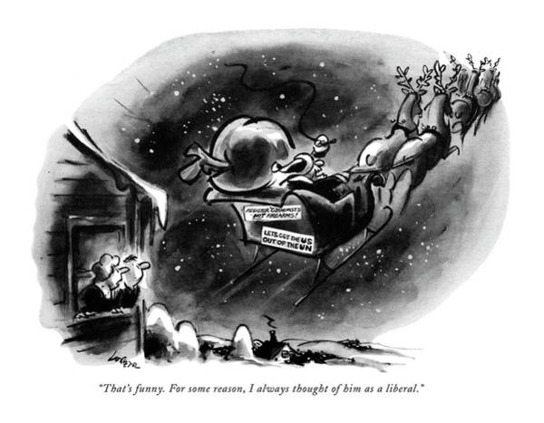 Sleigh Drawing - That's Funny. For Some Reason by Lee Lorenz