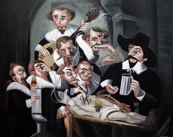 Painting - The 17th Century Cadaver Conspiracy by Anthony Falbo