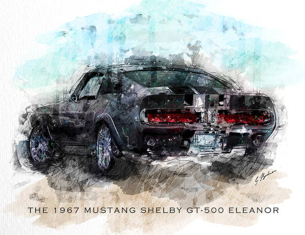 Wall Art - Digital Art - The 1967 Shelby Gt-500 Eleanor by Gary Bodnar