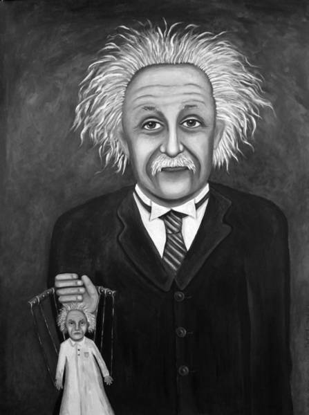 Painting - The 2 Einstein's Bw by Leah Saulnier The Painting Maniac