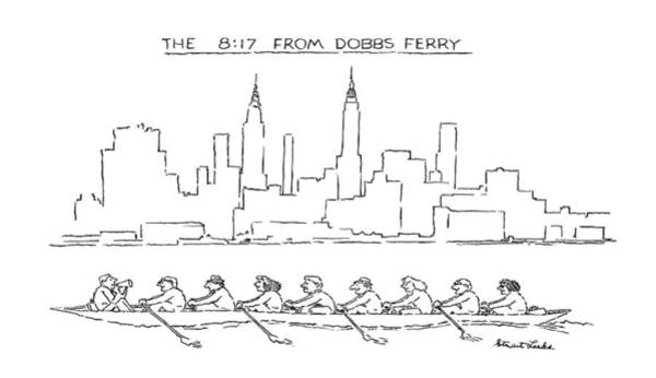 Rowing Drawing - The 8:17 From Dobbs Ferry by Stuart Leeds