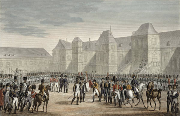 Soldier Drawing - The Abdication Of Napoleon by Louis Francois Couche