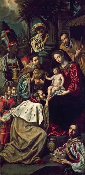 Madonna Photograph - The Adoration Of The Magi, 1620 Oil On Canvas by Luis Tristan de Escamilla