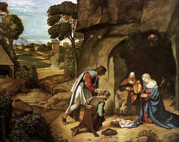 Wall Art - Painting - The Adoration Of The Shepherds by L Brown