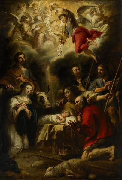 Family Farm Painting - The Adoration Of The Shepherds by Jan Cossiers
