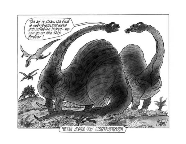 Dinosaurs Drawing - The Age Of Innocence by Kenneth Mahood
