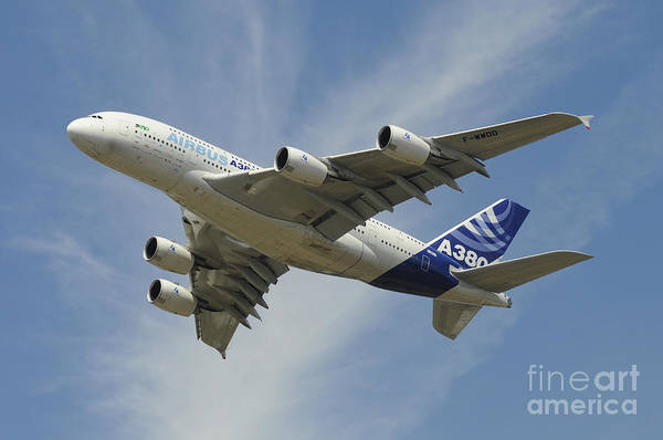 Airbus A380 Wall Art - Photograph - The Airbus A380 Prototype In Flight by Riccardo Niccoli