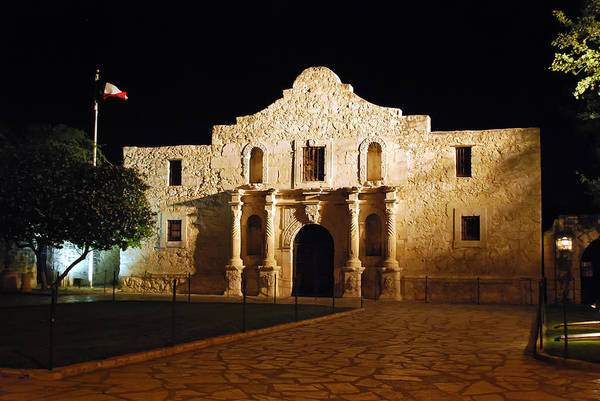 Photograph - The Alamo At Night - San Antonio Texas by Gregory Ballos