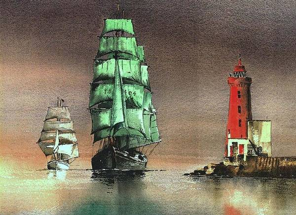 Painting - The Alex At The Poolbeg Lighthouse by Val Byrne