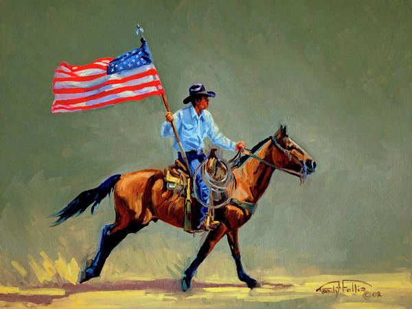 Wall Art - Painting - The All American Cowboy by Randy Follis
