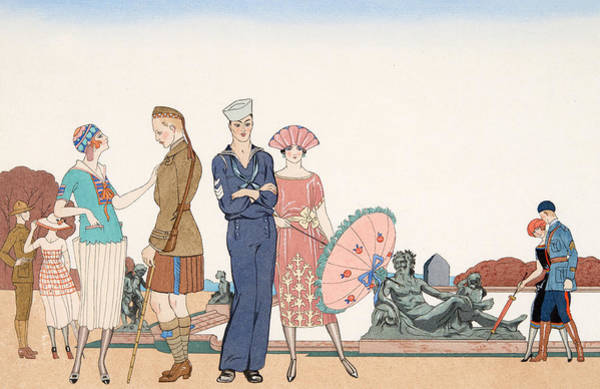 Barbier Painting - The Allies At Versailles by Georges Barbier