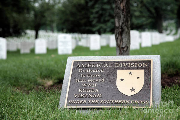 Photograph - The Americal Division Plaque At Arlington National Cemetery by William Kuta