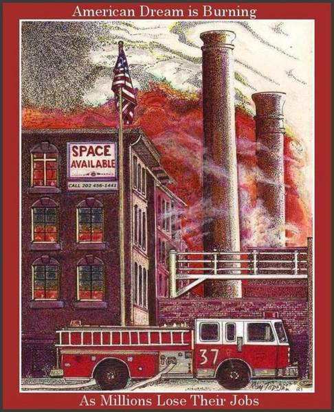 Mixed Media - The American Dream Is Burning by Ray Tapajna