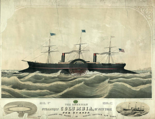 Wall Art - Drawing - The American Steamship Columbia by Litz Collection