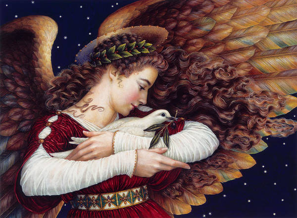 Card Painting - The Angel And The Dove by Lynn Bywaters