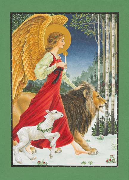 Card Painting - The Angel The Lion And The Lamb by Lynn Bywaters