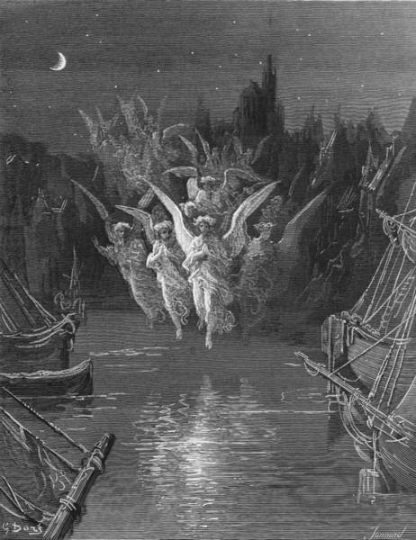 Colours Drawing - The Angelic Spirits Leave The Dead Bodies And Appear In Their Own Forms Of Light by Gustave Dore