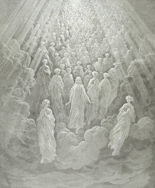 Grey Skies Wall Art - Painting - The Angels In The Planet Mercury by Gustave Dore