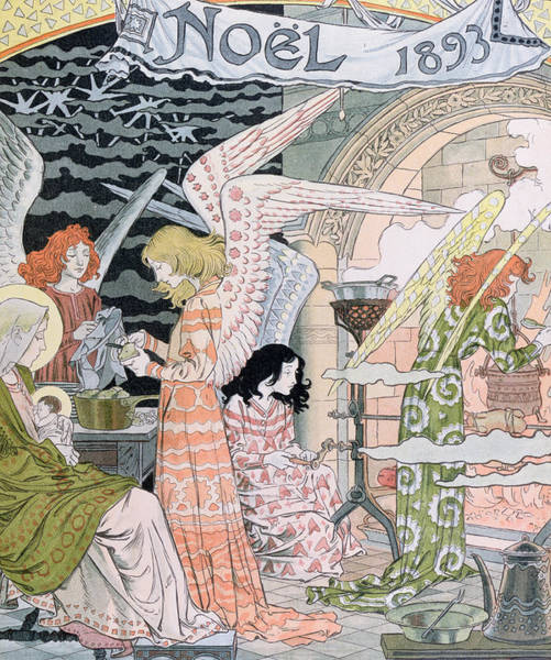Cook Drawing - The Angels Kitchen by Eugene Grasset