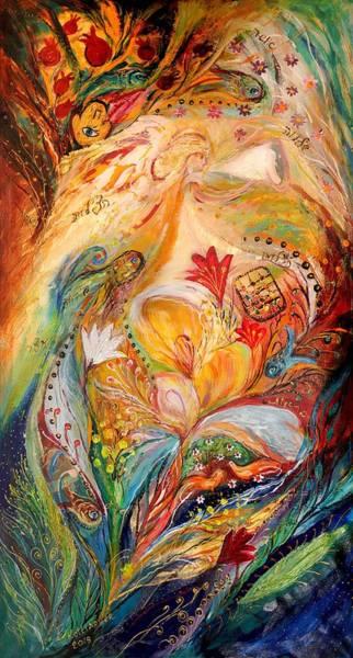 Chupah Wall Art - Painting - The Angels On Wedding Triptych - Left Side by Elena Kotliarker