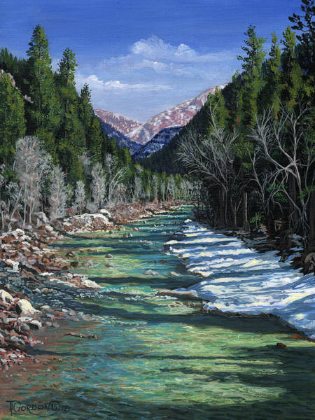 Bluffs Painting - The Animas At Cascade by Timithy L Gordon