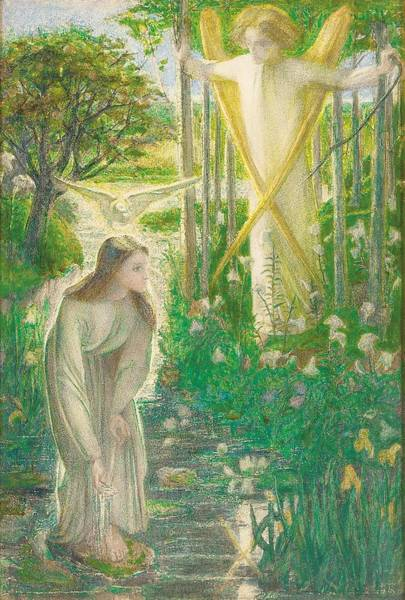 Innocence Drawing - The Annunciation, 1855 by Dante Gabriel Charles Rossetti