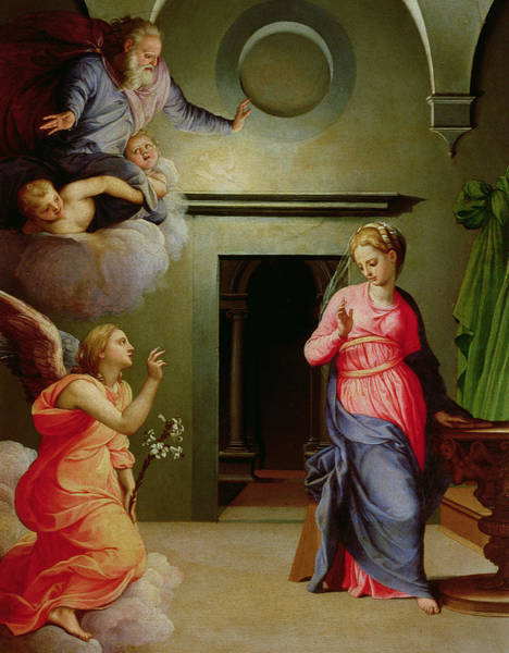 Gabriel Painting - The Annunciation by Agnolo Bronzino