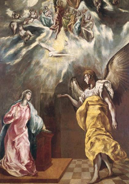 Immaculate Conception Wall Art - Painting - The Annunciation by El Greco Domenico Theotocopuli