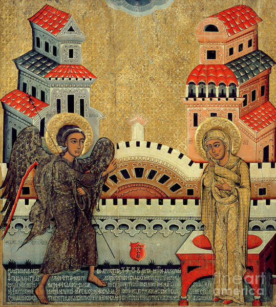 Immaculate Conception Wall Art - Painting - The Annunciation by Fedusko of Sambor