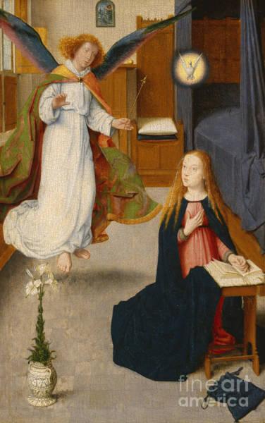 Gabriel Painting - The Annunciation by Gerard David