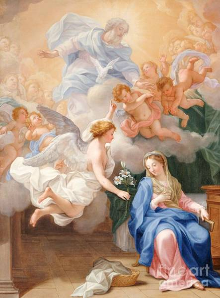 Immaculate Conception Wall Art - Painting - The Annunciation by Giovanni Odazzi