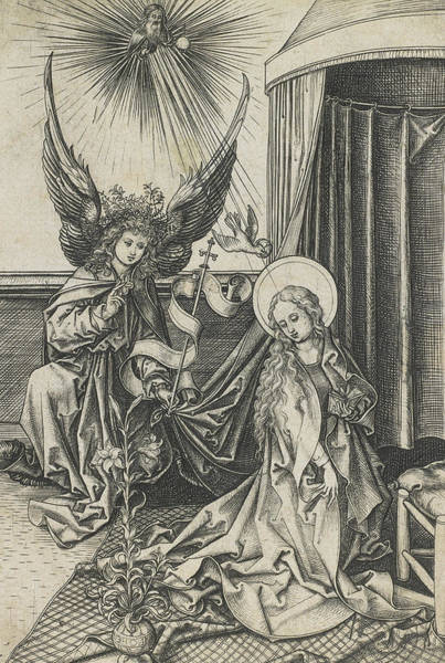 Beam Drawing - The Annunciation by Martin Schongauer