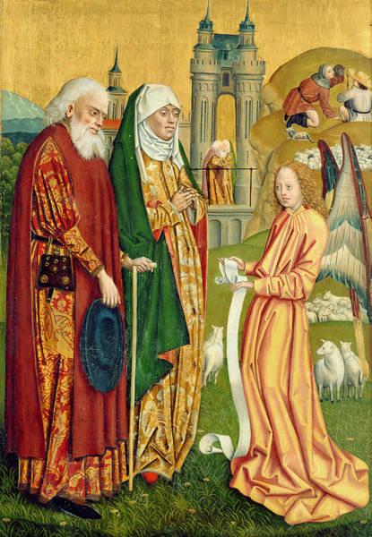 Gabriel Painting - The Annunciation To Joachim And Anne, From The Dome Altar, 1499 by Absolon Stumme