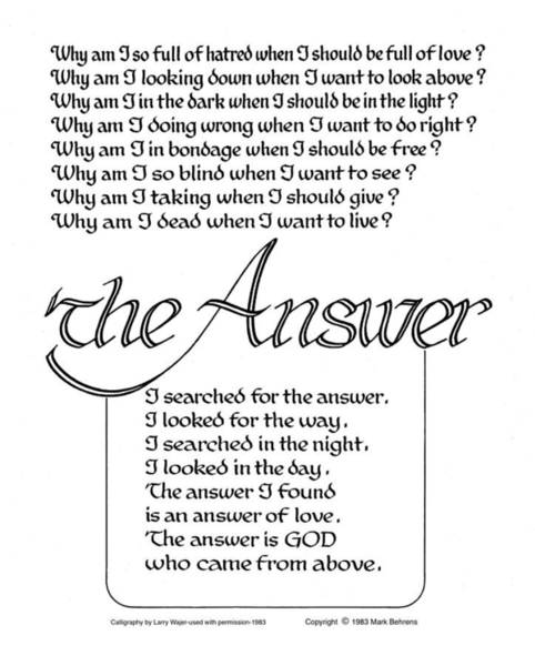 Serenity Prayer Digital Art - The Answer by Mark Behrens