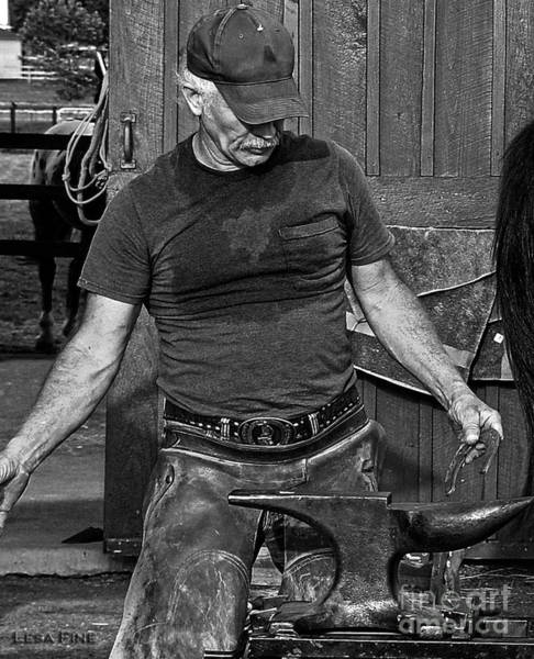 Photograph - The Anvil And The Horseshoe Bw by Lesa Fine