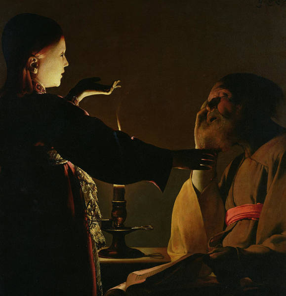 Awakening Painting - The Appearance Of The Angel To Saint Joseph by Georges de la Tour