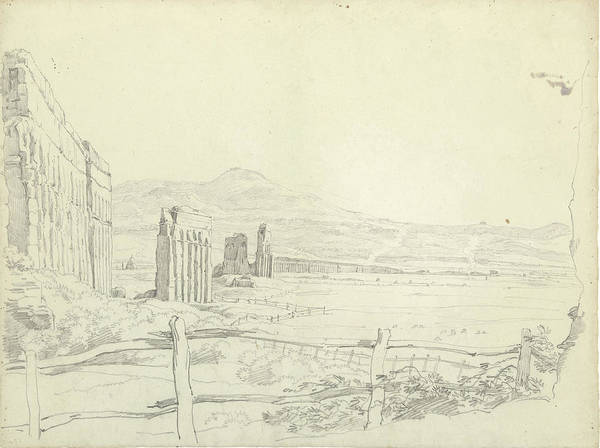 Aqua Drawing - The Aqueduct Of The Aqua Claudia, View To The Mountains by Quint Lox